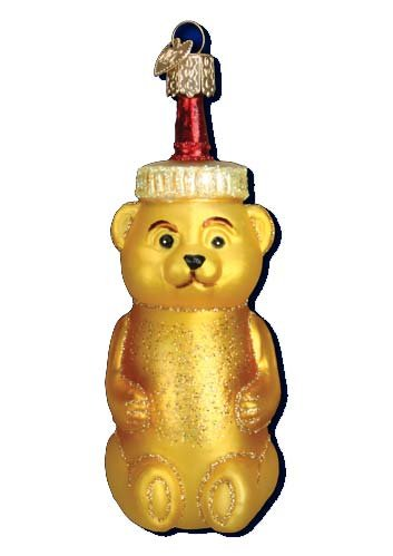 Old World Christmas Honey Bottle Bear Glass Ornament