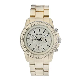 Fossil Women's CH2708 Quartz Chronograph Aluminum Golden Dial Watch