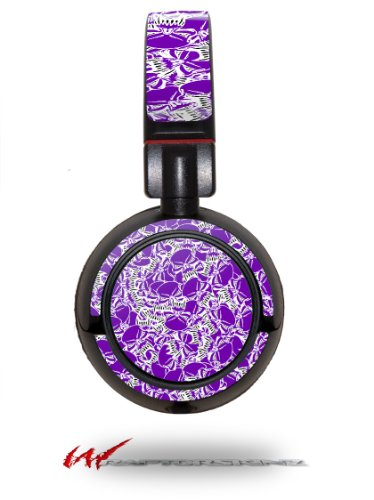 Scattered Skulls Purple - Decal Style Vinyl Skin Fits Sony Mdr Zx100 Headphones (Headphones Not Included)