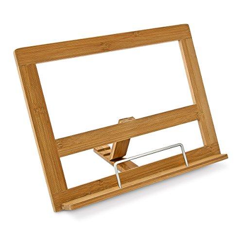 Kochbuchhalter Bambus H x B x T: ca. 24 x 32 x 18 cm Buchstütze für Küche und Büro Rezepthalter mit 3 Neigungsstufen als Buchstütze und Leseständer Kochbuchständer mit Seitenhalter, natur