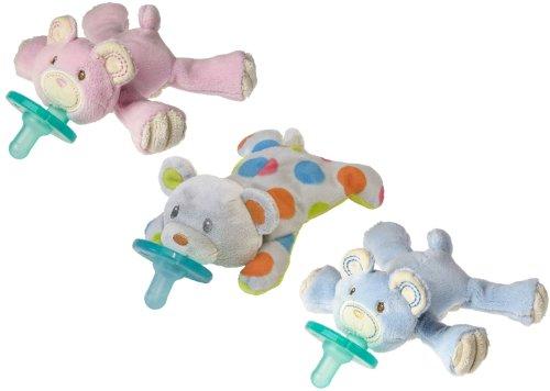 Wubbanub Teddy Bear Infant Pacifier, 3 Pack
