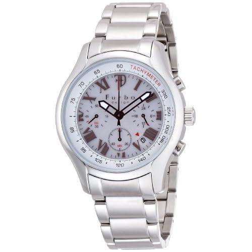 [フルボデザイン]Furbo Design Ilsole 腕時計 FS403 ソーラークォーツ クロノグラフ 10気圧防水 ステンレススチール ホワイト メンズ FS403SWH メンズ
