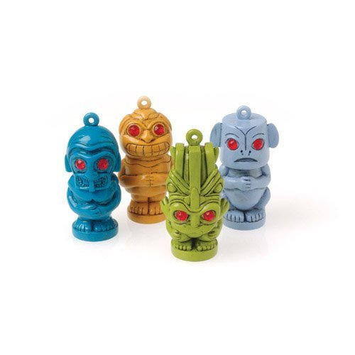 Dozen Assorted Color Tiki Man Pendants With Necklace Lanyards - 1