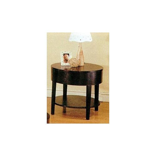 Cheap Cappuccino Finish Wood Curved Design Occasional End Table (VF_AZ01-5262)