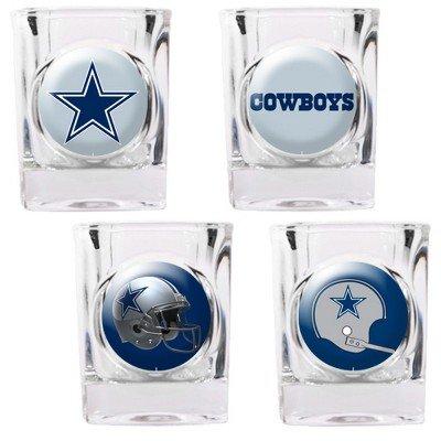 Dallas Cowboys - 4 Piece Square Shot Glass Set W/Individual Logos