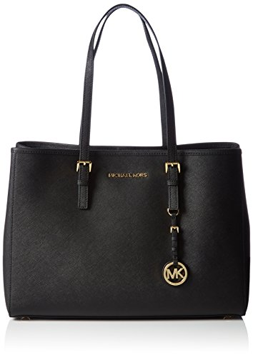 Michael Kors Jet Set Travel Large Saffiano Leather Borsa Tote, Donna, Nero/Gold