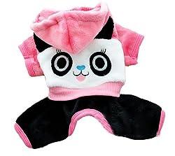 Demarkt Fashion Dog Cat Puppy Fleece Panda Head Print Hoodie Costume Clothes Pet Apparel Superdog Dress Up Pet Supplies (XL, Pink)