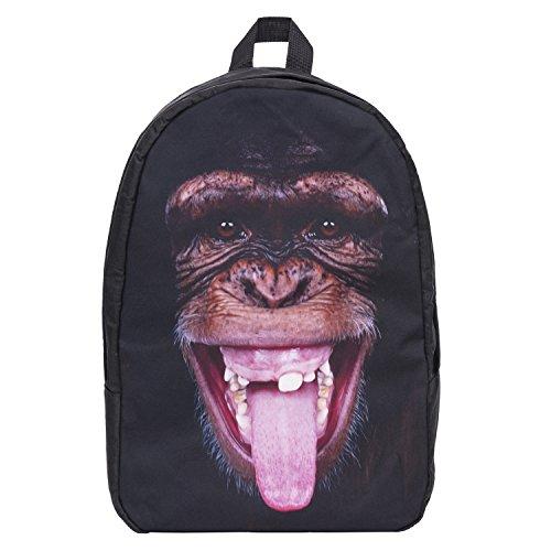 """Unisex bloger-Old School Daypack Retro zaino Vintage zaino zaino ragazza Hipster Bag Front Fullprint """"molti colori MONKEY TONGUE taglia unica"""