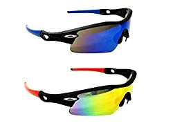 FashioNext Cricketers (Blue-Black) Men Wear Sports Sunglasses (WFNS0271)