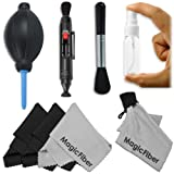 Professional Cleaning Set for DSLR Cameras (Canon, Nikon, Pentax, Sony) - Includes: Lens Cleaning Pen + Handy Empty Spray Bottle + High Quality Lens Brush + Air Blower Cleaner + 4 Premium MagicFiber Microfiber Cleaning Cloths