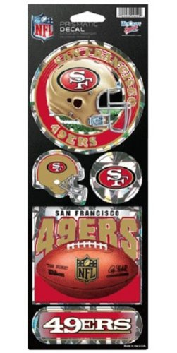 San Francisco 49Ers Large 5 Pack Of Holographic Stickers