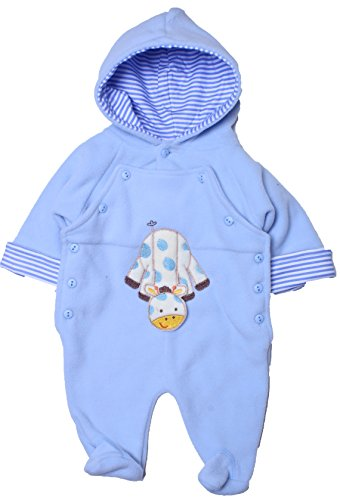 Coney Island - Baby Boy Warm Fleece Animal Footed Coverall-Giraffe0/3 back-379487