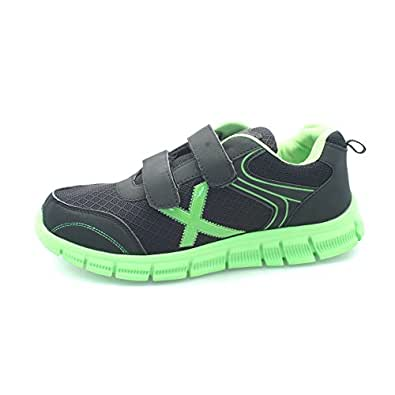 Mens Shock Absorbing Running Trainers Jogging Gym Fitness Trainer Shoe UK 7-12 (6 UK, Black / Green Strap)