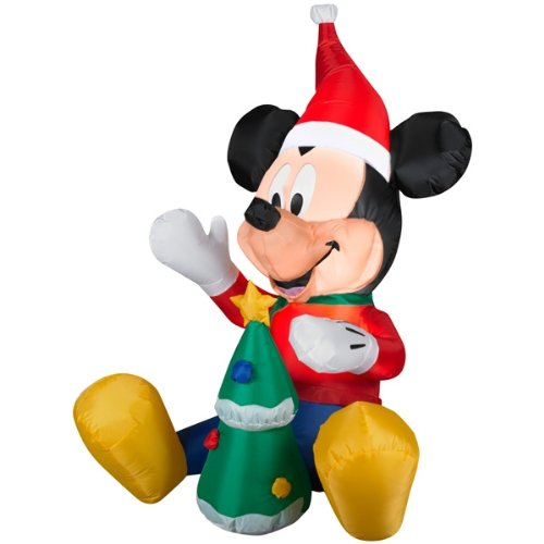 disney airblown inflatable 35 ft mickey with christmas tree that lights up 42 inch energy efficient led mickey mouse with tree lights up