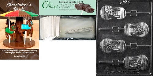"""Cybrtrayd """"Flip-Flop Lolly"""" Miscellaneous Chocolate Mold With Chocolatier'S Bundle, Includes 25 Lollipop Sticks, 25 Cello Bags And 25 Silver Twist Ties front-1038079"""