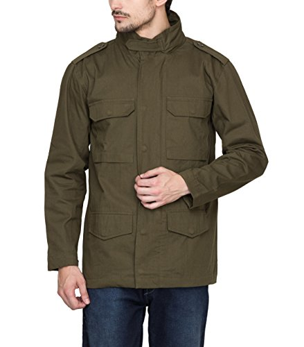 Hypernation Military Green Color Twill Jackets for Men