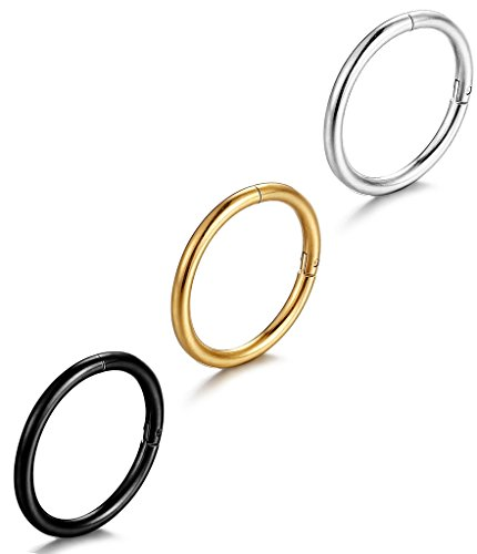FIBO STEEL 16G Stainless Steel Stainless Steel Septum Piercing Nose Ring Body Jewelry Piercing 3PCS 3/8