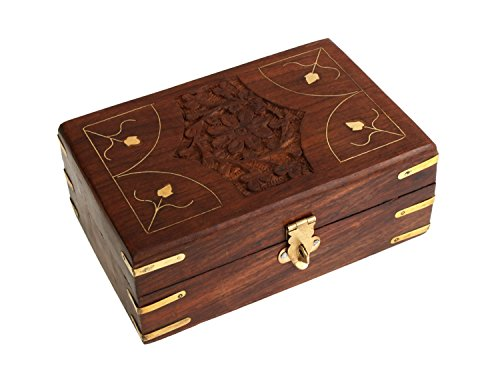 Rakhi Gift for Sister Hand Carved Wooden Jewelry Holder Box Organizer Multipurpose with Floral Carvings & Brass Inlay
