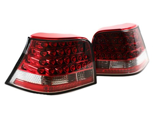 99-05 Vw Mk4 Golf/Gti/R32 Euro Led Taillights - Red/Clear (1999 2000 2001 2002 2003 2004 2005)