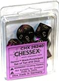 Chessex Dice Sets: Gemini Black & Purple with Gold - Ten Sided Die d10 Set (10) by Chessex