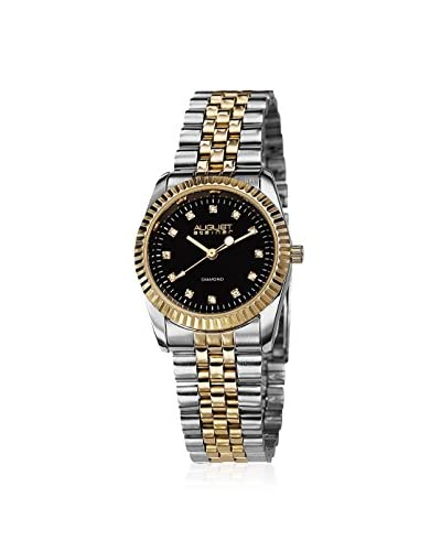 August Steiner Women's AS8046TTG Diamond Stainless Steel Two-Tone Gold/Silver/Black Base Metal Watch