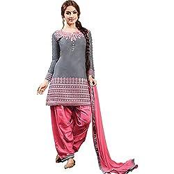ethnic bazaar pink grey patiala suit dress material