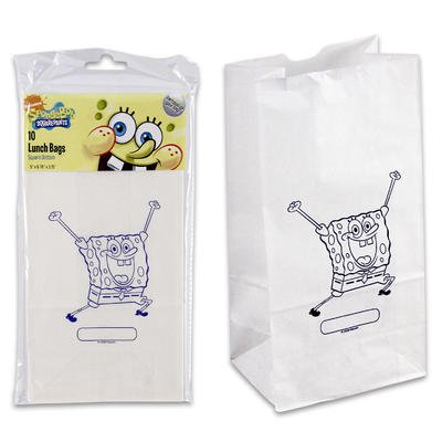 10ct Spongebob Square Bottom Paper Lunch Bags