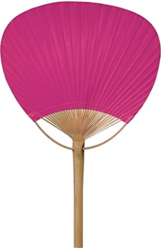 Luna Bazaar Hand-Held Paper Paddle Fan (14.5-Inch, Fuchsia Pink) - For Personal Use, Weddings, and Events