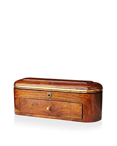 A. Sanoma Inc. Wooden Secret English Pencil Box, Brown/Brass