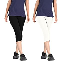 Rooliums Super Fine Cotton Capri Leggings Combo (Pack of 2) Black and White - FREE SIZE