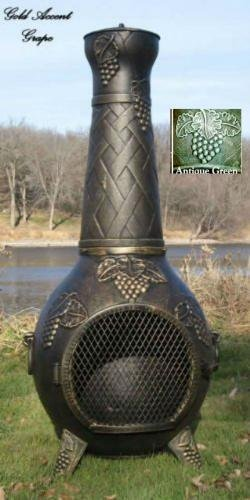 The-Blue-Rooster-Grape-Chiminea-in-Antique-Green