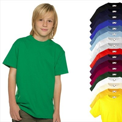 KINDER T-SHIRT FRUIT OF THE LOOM VALUE 128 140 152 164 164,stahlblau