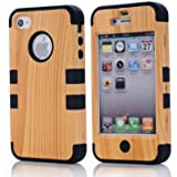 SHHR Hard Wood+Silicone Design Hybrid case for Apple iPhone4 4s 4G-Black Color