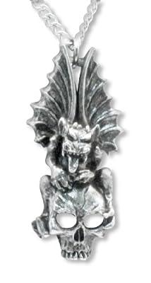 Gothic Gargoyle On Top of Skull Silver Finish Pewter Pendant Necklace Fashion Jewelry