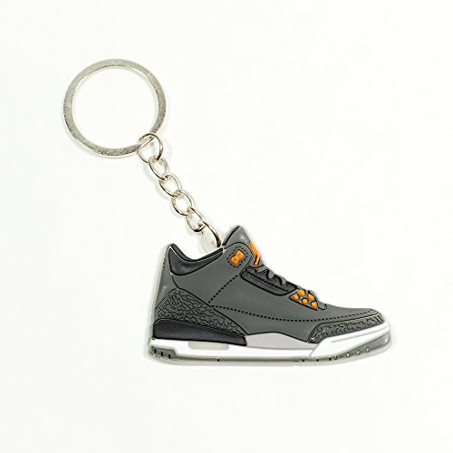 One Stop Discount Shop® - Air Jordan 3 Basketball Jumpman Key Chain In Grey Black