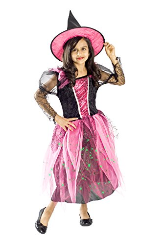 [Witch Costume for Girls Black Light up Pink Small Medium Large 4-6, 6-8, 8-10M 6-8)] (Halloween Witch Costumes Kids)
