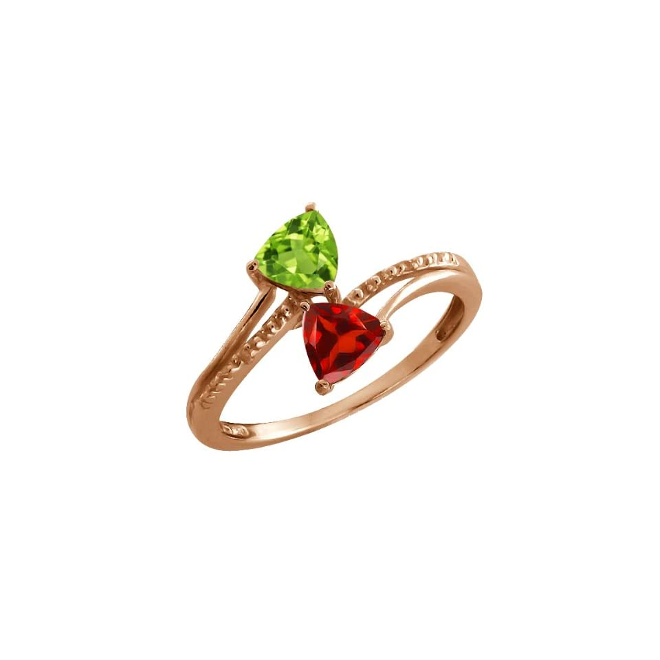 1.02 Ct Trillion Green Peridot and Red Garnet 18k Rose Gold Ring