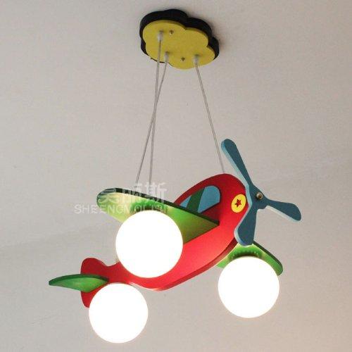 New Modern Kid'S Bedroom Airplane Ceiling Pendant Lamp Children'S Study Room Wooden Red Plane Ceiling Pendant Fixtures