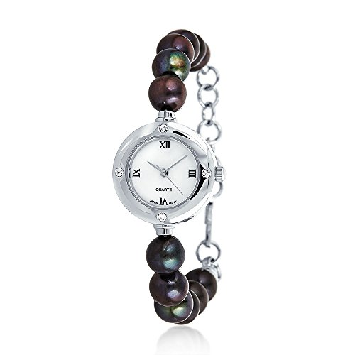 Bling Jewelry 8mm coltivate di acqua dolce perla Pavone Crystal Watch rodiata