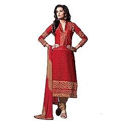 Meghali Women's Cotton Silk Zari Unstitched Suit (Tonika01_Red_Free Size )