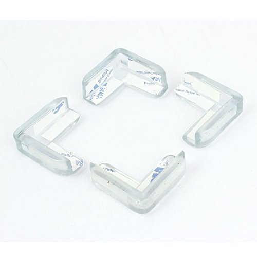 Desk Table Corner 90 Degree Safety Cushion Pad Protector 4pcs Clear (Corner Desk Pad compare prices)