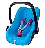 ByBoom® - Funda de verano / funda hecha de 100% algodón, funda universal para portabebés (Moisés), asiento de coche, por ejemplo, Maxi-Cosi CabrioFix, Pebble, City SPS, Color:Azul