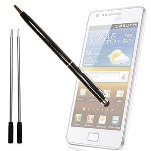 xubix XSP-65 - Stylus - Eingabestift + Kugelschreiber für Apple iPhone, iPad, Galaxy Tab, Galaxy S II Plus HTC One X / V / S Acer Iconia A510, A200 u.a. + 2x Ersatzmine - Schwarz