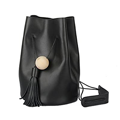 Women's Genuine Leather Bucket Drawstring Cross-body Shoulder Bag Black