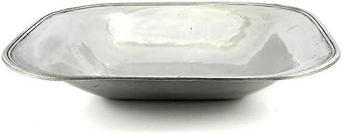Cavagnini - Bacinella/portafrutta/ciotola/contenitore quadrato grande in peltro