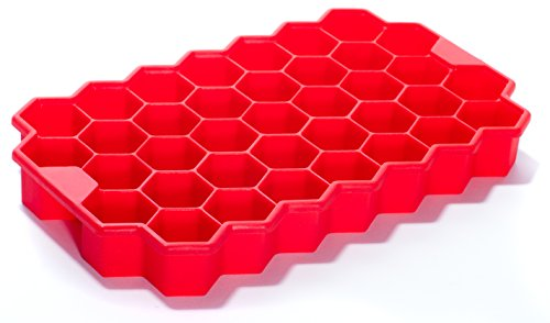 Silicone Ice Cube Tray by Deeer - 37 pc Cute Geometric Ice Cube Maker (Red) (Smoothie Freezer Mold compare prices)