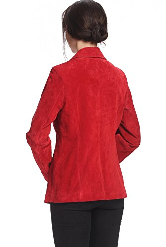 """BGSD Women's """"Stacy"""" Zip Front Suede Leather Jacket - Red M"""