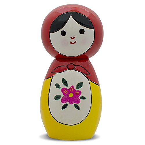 "4.25"" Semenov Hand Painted Wooden Japanese Kokeshi Doll - 1"