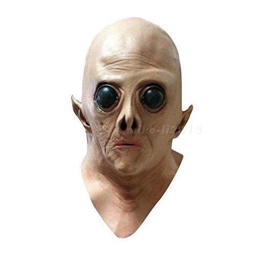 [Halloween Adult Alien UFO ET Full Head Latex Mask Costume Fancy Dress Party MKLG] (Best Halloween Costumes Ever 2016)