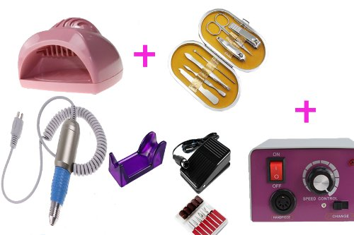 Wholesale Nail Beauty Tools Set: 25000 Rmp Electric Nail Manicure Drill File Machine With Foot Pedal + New Portable Mini Cute Hand Finger Toe Nail Art Gel Tip Polish Dryer Blower Fan + Deluxe Vogue 7 Pcs Nail Care Personal Manicure & Pedicure Set Travel &